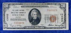 1929 $20 Illinois National Bank & Trust CO. of Rockford IL Currency Banknote