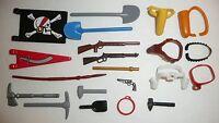 Playmobil Parts + Pieces Lot - Accessories Cowboy Hats Tools Belts Guns Flags