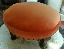 Vintage wooden & Orange Velvet circular Footstool