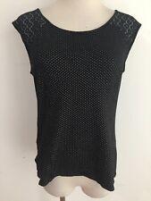 Ann Taylor Cami Sleeveless Top Black w/White Dots & Lace Shoulders & Back Sz XS