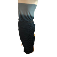 Young Fabulous & Broke Dip Tie Dye Gray Blue Black Strapless Dress M Medium