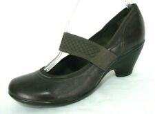 Clarks Privo Shoes Sz 8.5 Mary Jane Pumps Brown Leather Elastic Strap NWOB