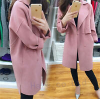 Fashion Womens Long Dust Overcoat Trench Coat Jacket Wool Blend Parka