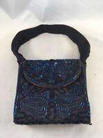 Vintage Beaded Blue Bag Flower Design Blue on Blue Pouch Handbag Purse