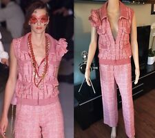 CHANEL VINTAGE RUNWAY SEXY SEQUIN TWEED VEST TOP & PANT SUIT 2 PIECE SET FR 38