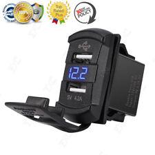 4.2A Dual USB Charger Voltmeter Rocker Push Switch Car Marine Boat Blue LED 12V