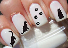 Black Cat Nail Art Stickers Transfers Decals Set of 48