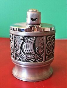 VINTAGE  PEWTER GAS TABLE LIGHTER WITH VIKING AND PATTERNED PANELS .