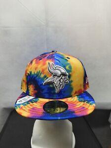 NWS Minnesota Vikings 2020 NFL Crucial Catch New Era 59fifty Tie Dye 7 5/8