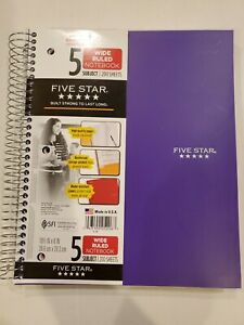 Purple - Five Star Spiral Notebook, 5 Subject, Wide Ruled Paper, 200 Sheets.