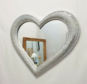 Crackle Mosaic Love Heart Wall Mirror Silver Sparkly Glass Frame 64x54cm Medium
