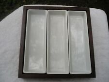 Pottery Barn Bradford 4 Piece Wood & Ceramic Modular 3 Sectioned Serving Dish
