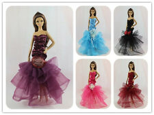 3 Pcs Nice Party Evening Dresses Fishtail Skirt & Clothes  For Barbie Doll
