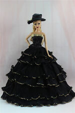 Gorgeous Princess Part Dress/Clothes Wedding Gown+hat For Barbie Doll N13U