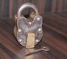 1940's Antique Beautiful POPULAR LOCK Marked ALIGARH Heavy Brass & Iron Pad Lock