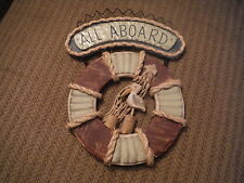 ALL ABOARD Nautical Wooden Life Preserver with Seagull Hanging Sign Plaque