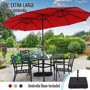 MF Studio 15ft Double-Sided Patio Umbrella with Base Large Outdoor Table Umbrell
