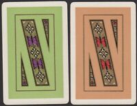 Pair Playing Cards 2x Single Card Old Vintage Art Deco BUTTERFLY BUTTERFLIES