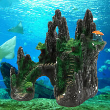 Aquarium Mountain View Tree House Resin Cave Fish Tank Ornament Decoration NEW