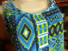 SMALL  True Vtg 70s HANDMADE HIPPY BLUE BEACH TOWEL HAWAIIAN TANK BEACH TOP