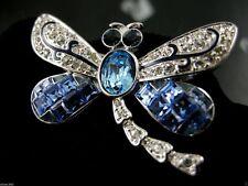 SIGNED SWAROVSKI BLUE TOPAZ  CRYSTAL DRAGONFLY ~ BROOCH RETIRED RARE NEW