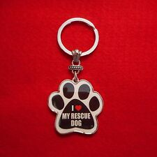 """NEW """"I Love My Rescue Dog"""" Paw Print Keychain"""