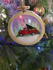 Retro Truck Snow Globe Shadow Box Vintage Country Rustic Ornament Shakable