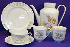 21 PC ARZBERG CHINA BROWN ROSES LUNCHEON SET COFFEE POT CREAMER SUGAR CUP SAUCER