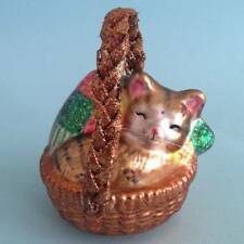 Kitty Cat Sleeping in Wicker Basket Holiday Christmas Ornament
