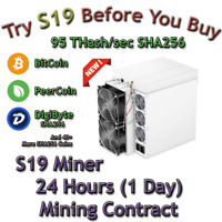 Rent S19 AntMiner. 95 Th/s Guaranteed 24 Hours Mining Contract Lease SHA256 BTC