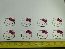 8pc Hello Kitty Heads Faces Fabric Applique Iron On