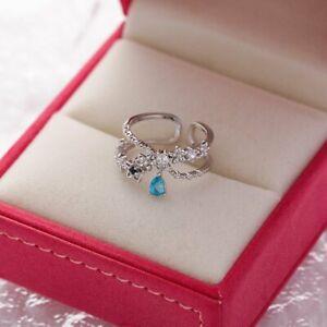 925 Silver Flower Butterfly Leaf Open Ring Women Adjustable Wedding Jewelry Gift