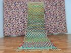 Vintage Boujaad Moroccan Handmade Rug 3ft2x9ft2 Checkered Colorful Runner Carpet