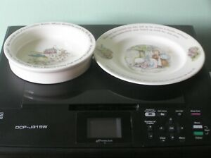 """AN ATTRACTIVE WEDGWOOD PETER RABBIT CHILD'S BOWL & PLATE: 8"""" ACROSS: VGC FOR AGE"""