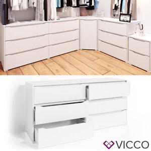 VICCO Kommode RUBEN Weiß 6 Schubladen 160 cm Sideboard Mehrzweckschrank Schrank