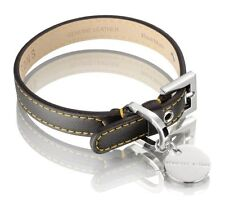 Hennessy & Sons Luxury Leather Dog Collar ~ Sailor Black & Yellow ~ Small ~ NIB