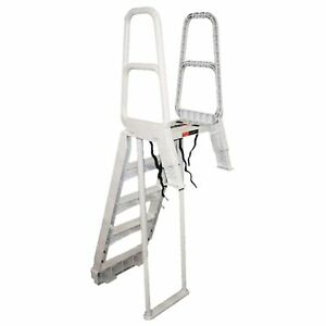Main Access Smart Choice Incline Outside Above Ground Swimming Pool Ladder, Gray