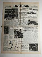 N351 La Une Du Journal Le journal 7 mai 1937 Zeppelin un Hindenburg explose