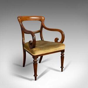 Antique Serpentine Arm Chair, English, Mahogany, Elbow Seat, Regency, Circa 1820