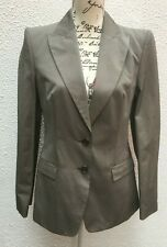 Jacket Blazer 12 Hugo Boss 40 Grey Cotton Button Lined Fitted Career Business