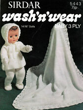 """BABY KNITTING  Pattern Vintage Baby Doll  dress Layette, 14/ 16  """" Doll   3ply"""