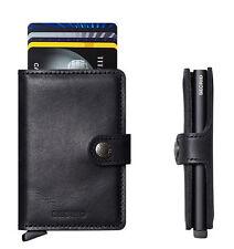 Secrid Mini Wallet Leather Vintage Black, Rfid Safe Card Case