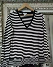 The White Company White Label Ladies Merino Wool Mix Striped Knit Jumper UK 12