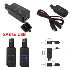 12V Motorcycle SAE To USB Cable Adaptor 2USB Port Cell Phone Charger & Voltmeter