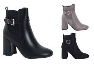 Womens Ladies Black Buckle Ankle Suede Zip Up Block Heel Ladies Boots Shoes UK