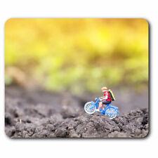 Computer Mouse Mat - Miniature Cyclist Mountain Bike Office Gift #12514