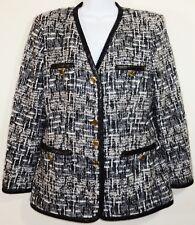 Vintage Escada Blazer Womens Sz 10 Margaretha Ley Jacket Wool Mohair Black Gray