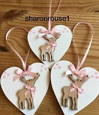 3 X Christmas Decorations Reindeer Shabby Chic Rustic Real Wood Heart Pink Bows