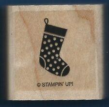STOCKING Polka Dots Christmas Holiday Gift tag Stampin' Up! Wood RUBBER STAMP