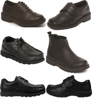 Boys Black School Shoes PU Leather Hook & Loop Lace Up Dress Formal UK Sizes 6-6